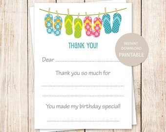 YOU PRINT printable thank you cards . flip flops . summer, beach, pool party . fill in the blank girls birthday thank you . Instant Download