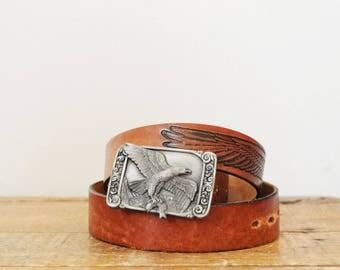 Vintage Siskiyou Eagle 1984 Pewter Belt Buckle and Wrangler Tooled Leather Belt Sz 38 Embossed Eagle