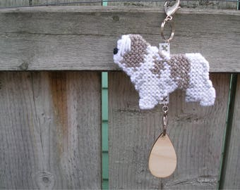 Polish Lowland Sheepdog crate tag hang anywhere, hand stitched original art by canine artisan, PON, Magnet option