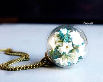 Necklace - Real Flowers in a Glass Sphere, white and blue