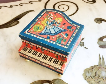 Vintage 60s MOD Piano Jewelry Box Dutch Girl Graphic made in Japan