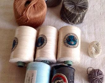 Vintage French Bobbins & Reels French Cotton Threads. 10pc Black White Grey Copper Pale Blue Reels. Vintage Haberdashery