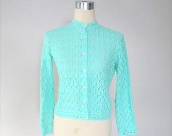 40% OFF SALE Vintage 1960's Neon Green Cardigan Sweater / Carol Brent 50's 60's Virgin Acrylic Knit Button Up Sweater / Size Medium