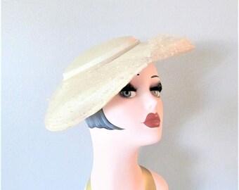 50% OFF SALE Vintage 1940's Creamy White Floral Wide Brim Hat / Antique Wedding Bridal Sun Hat