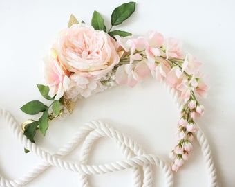 Blush light pink flowers gold white unicorn horn and lead rope for horse pony accessory photography prop