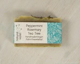 Peppermint Tea Tree, Vegan Soap, Handmade Soap, Palm Free Soap, Organic Soap, Herbal Soap, Bath and Body, Soaps, Bar Soaps, Vegan Bath Bar