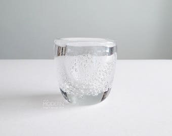 iittala Finland Kaj Franck Sodium Soda Bubbles Signed Glass Vase Bowl