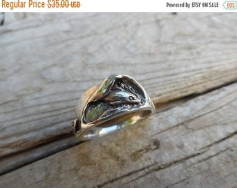 ON SALE Dolphin wave ring in sterling silver