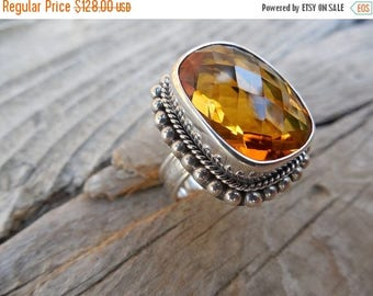 ON SALE Madeira citrine ring in sterling silver