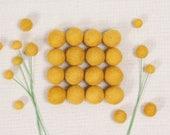 Felt Balls // Mustard Yellow // Felt Pom, Felt Flower Supplies, Flower Centers, Garland DIY, Felt Beads, Pom Poms, Mobile Crafts, Kids DIY