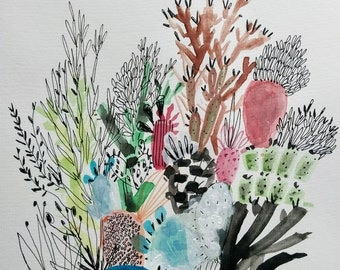 Cactus Crowd- Mixed media- Abstracti Cacti- 12x12
