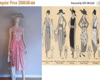 BI-ANNUAL SALE Marion Harris Sings Her Hit Song - 1919 Delicate Pinks Floral Print Muslin Dress w/Polonaise Sides - Amazing