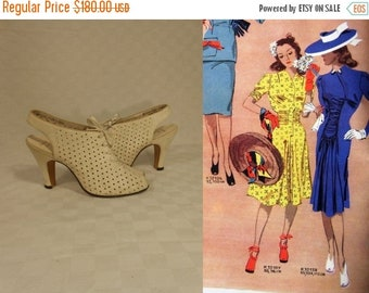 Anniversary Sale 35% Off Oh They Won't Forget - Vintage 1930s NOS Ivory Nubuck Leather Open Toe Perforated Heels Slingback Shoes - 3 1/2B