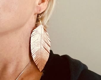 Leather Earrings, Leather Feather Earrings, Dangle and drop earrings, Boho Earrings, Metallic Earrings, Rose Gold Earrings , Statement Ear