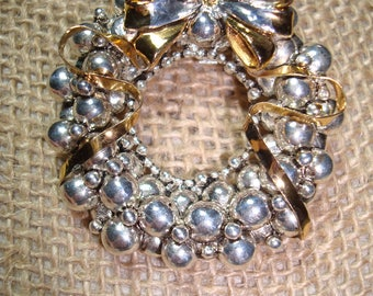 Vintage BEST Brand Silvery Christmas Wreath Pin and Pendant Combo