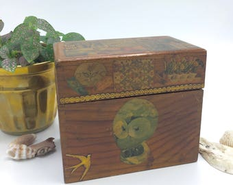 Vintage Wood Recipe Box, Decoupage, Eclectic, Boho Decor, Storage Box