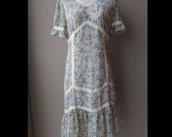 Sweet Floral Lace Chiffon Spring Summer Dress Size 10 Bust 36