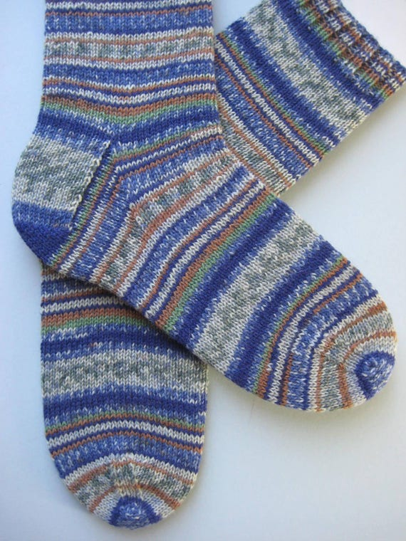 hand knitted mens wool socks UK 8-10 US 19-11 fairisle mens