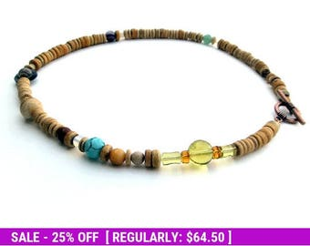 June SALE! Solar System Necklace in Light Wood Heishi - Mens Necklace - Planets of the Solar System and Proportional Distances in Wood and