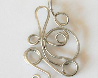 Hand Designed Silver Wire Pendant