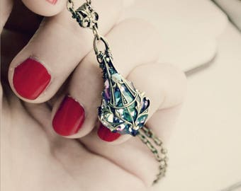 Brass & Swarovski Victorian Necklace - Pendant - Purple - Lilac - Fantasy Winter Wedding - Fashion - February - Valentines Day - Mardi Gras