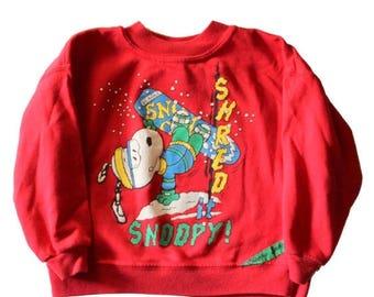 50% half off sale // Vintage 80s Shred it Snoopy Snowboard Peanuts Christmas Sweater // made in America, Kids 5 // Childrens Sweatshirt