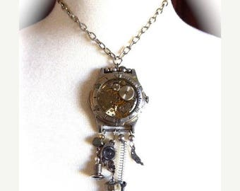 HUGE SALE Trendy Steampunk Choker Charm Necklace OOAK Vintage Watch Mechanism with Hand Made Abstract Charms of Small Watch Parts and Odds a