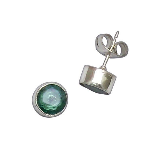 Faceted Green Topaz and Sterling Silver Post Earrings  etpz2955