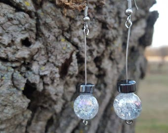 Clear Orb with Black Earrings