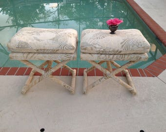 BILLY BALDWIN Style X Benches / Pair of Vintage X Benches Gorgeous Fabric / cream tan brown yellow leaf pattern X Benches Retro Daisy Girl