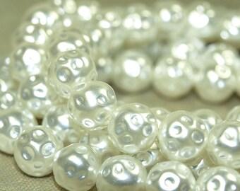 """Strand of Vintage 1960s Plastic """"Irregular"""" Pearls; PEARLS1001"""