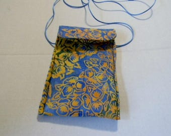 Yellow and Blue Floral Batik Passport Bag