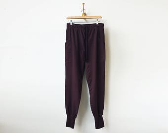 Athleisure Workout Pants   Baggy Cargo's   Skinny Jogger Style   Dark Burgundy Sweats   Cargo Pockets   Relaxed Fit   Cotton Sweats