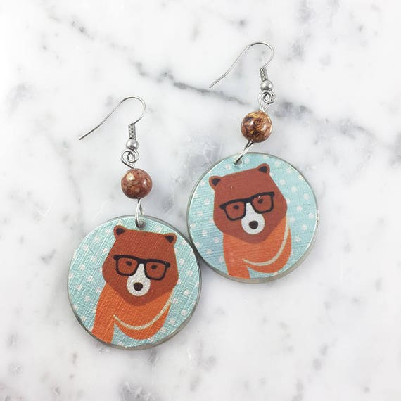 Resin earrings, bear, hipster bear, glasses, brown, blue, orange, unique, handmade, sold, earring, hypoallergenic hook