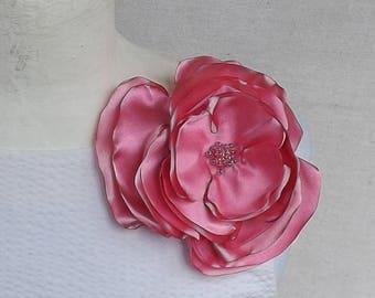 Large Flower Brooch in Vibrant Pink Satin