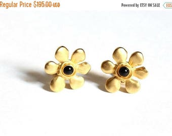 Karl Lagerfeld Earrings Matte Gold Flower Clips 1990s