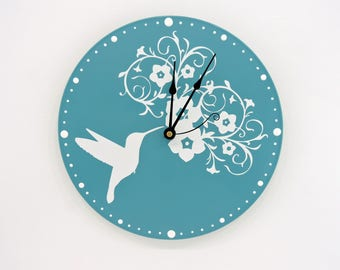 Humming Bird Wall Clock Blue with White flowers