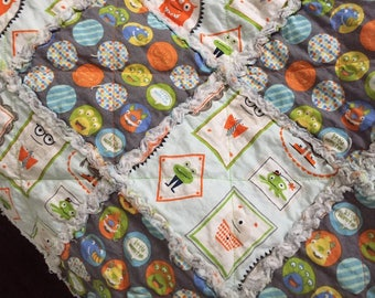 Baby or toddler blanket Monster blanket, cotton, gray and lightblue, chevron, friendly monster, rag quilt, lovey, cotton and flannel blanket
