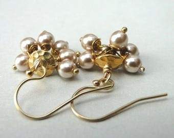 Earrings / Cluster Pearl Earrings / Champagne Freshwater Pearls / 14k Gold Filled Ear Wires / Eye Catching Earrings / Dangle Pearl Earrings