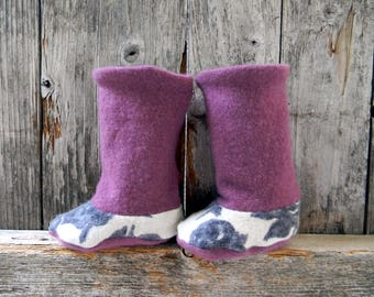 Upcycled 100% Wool Baby Booties High Top Boots Raspberry /Purple/Floral  Booties Upcycled Wool Booties 0-6 Months
