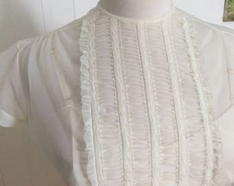1950s Sheer Ivory BLOUSE, Ruched Ruffled Front, Button Down Back, Short Cap Sleeves, with Vintage 1980s Camisole, XS, Small