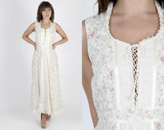 Gunne Sax Dress Boho Wedding Dress Maxi Dress Ivory Dress Bohemian Dress Summer Dress Jessica McClintock Vintage 70s Floral Lace Long Sun M