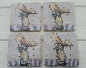 Baker Boy 'Little Chef' Stone Coaster Set of 4 Tea Coffee Beer Coasters