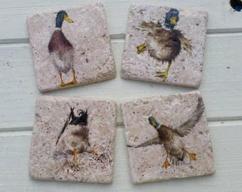 Country Duck (small print) Stone Coaster Set of 4 Tea Coffee Beer Coasters