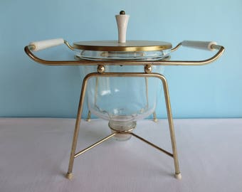 Mid Century Chafing Dish - Gold Metal Stand with Sterno
