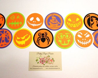 Handmade Set of 12 HALLOWEEN JACK-O Faces and Icons - 2.25 inch diameter - variety packs