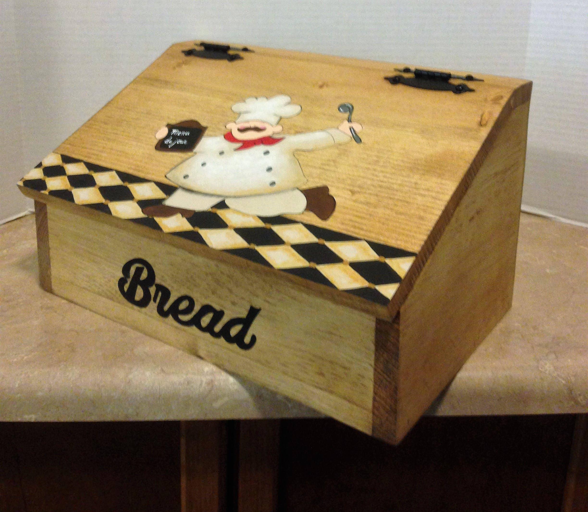 Country Kitchen Bread: Bread Box, Wooden Bread Box, Chef Decor, Chef Kitchen