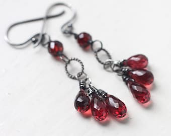 Red Garnet Gemstone Earrings, January Birthstone - Blossoms of Red