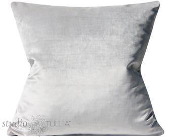 Silver Velvet Pillow Cover - 20X20 - cotton velvet - designer velvet - ready to ship