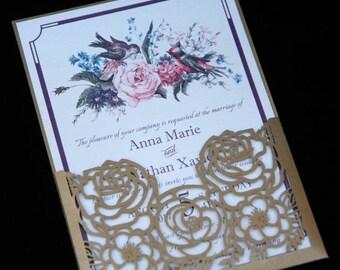 Flower Bouquet Laser Cut Wedding Invitation, Floral Invite, Elegant Roses Design, Watercolor, Gold & Burgundy